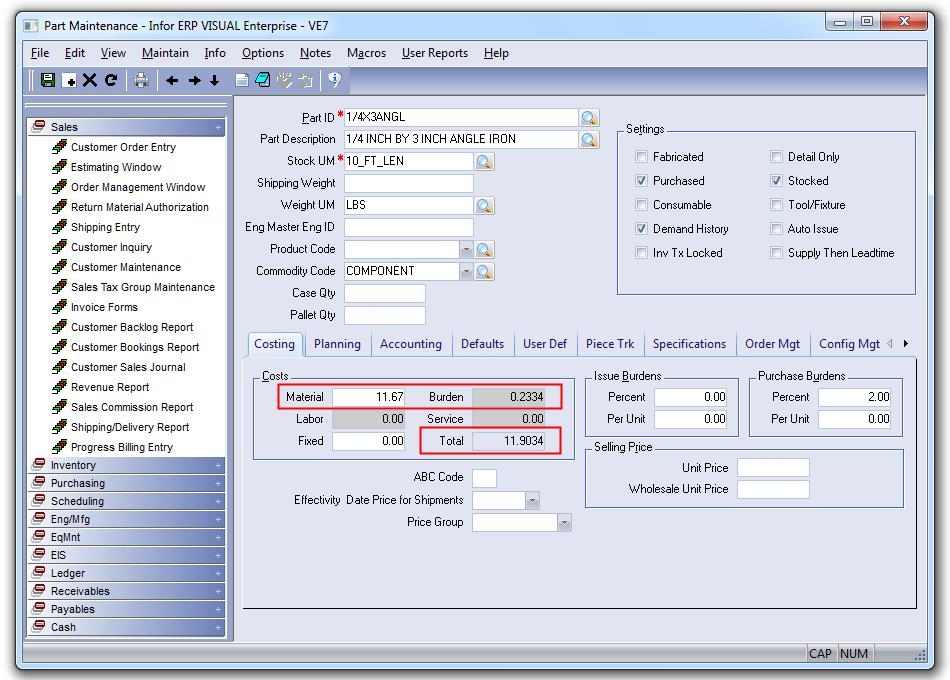 Standard Cost Update Utility for VISUAL ERP - SaberLogic