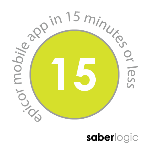 SaberLogic blog header image that says epicor mobile app in 15 minutes or less