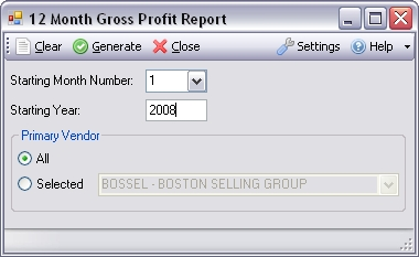 12-Month Gross Profit by Preferred Vendor for Infor VISUAL ERP - SaberLogic - Screenshot 1