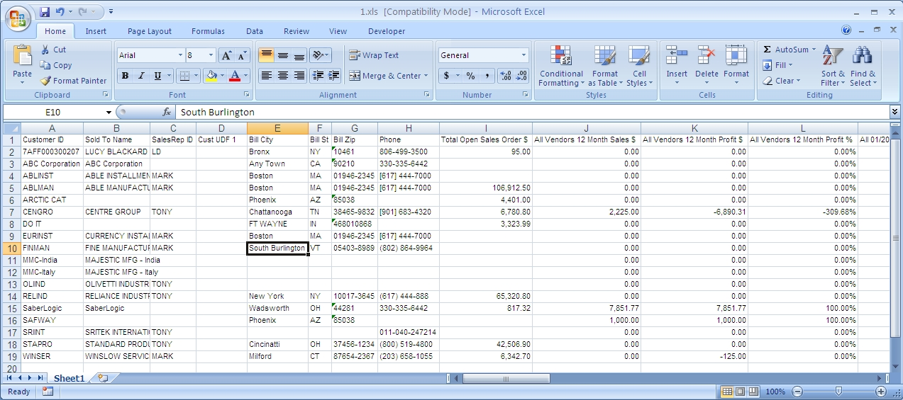 12-Month Gross Profit by Preferred Vendor for Infor VISUAL ERP - SaberLogic - Screenshot 2
