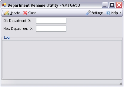Department Rename Utility for Infor VISUAL ERP - SaberLogic - Screenshot 1