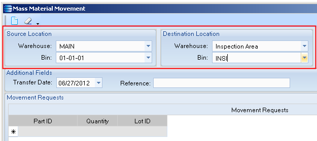 Here you select the source and destination location for your material movement transactions.