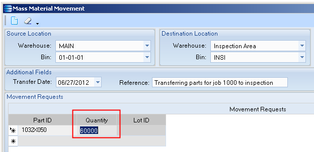 Here we show the quantity field defaulting to the full quantity of the part in the specified source location.  It can be changed as desired.