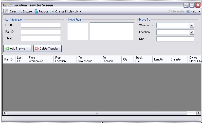 Lot Location Transfer Screen for Infor VISUAL ERP by SaberLogic - Screen Shot 1