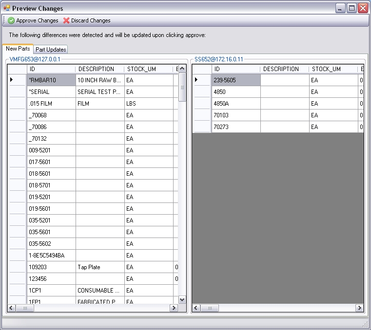 Multi-Database Part Sync for Infor VISUAL ERP by SaberLogic - Screen Shot 1