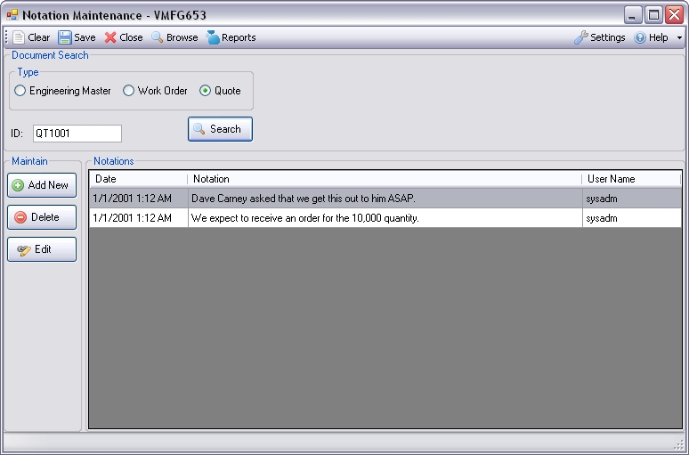Manufacturing Window Notation Maintenance for Infor VISUAL ERP by SaberLogic - Screen Shot 1