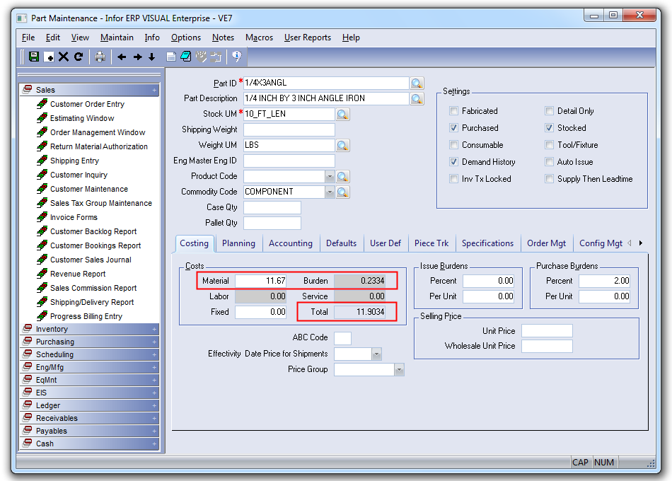 Standard Cost Update Utility for Infor VISUAL ERP - SaberLogic - Screenshot 2