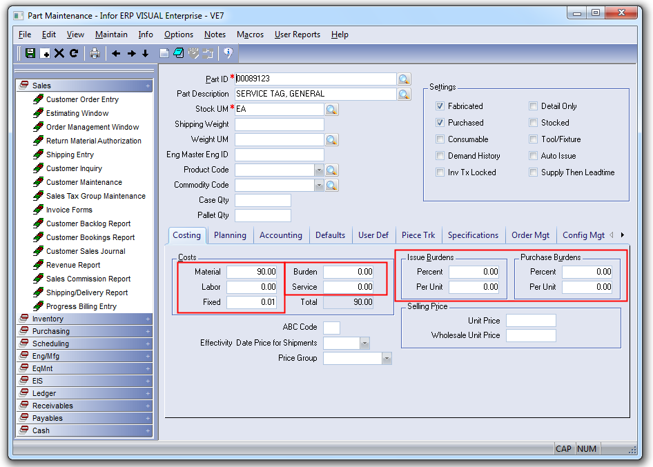 Standard Cost Update Utility for Infor VISUAL ERP - SaberLogic - Screenshot 3