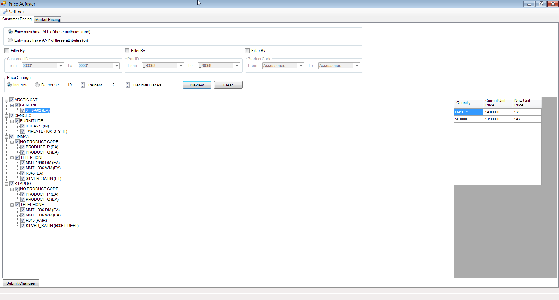 Price Adjuster by SaberLogic for Infor VISUAL ERP - Screenshot 5