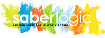 SaberLogic Logo with different colors of watercolor bursts that represent the different parts of the consuting business.