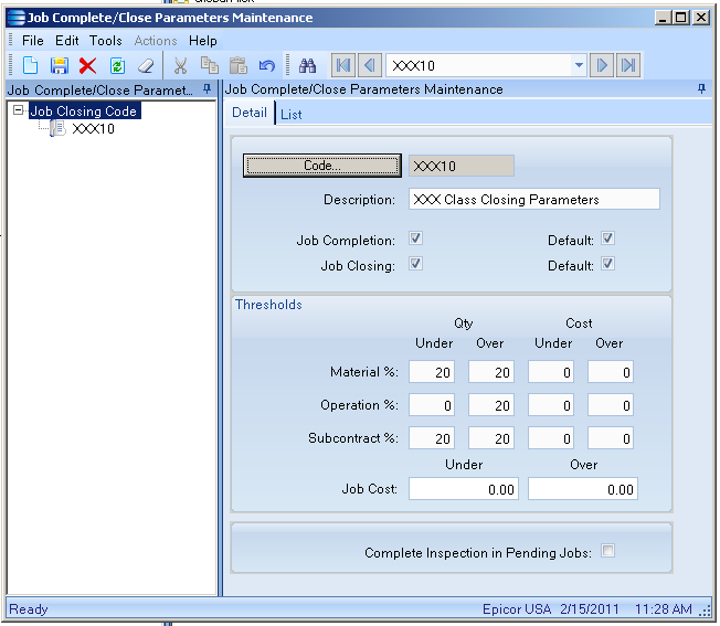 SaberLogic Blog - Automatic Job Closing in Epicor - Image 1 - Specify the parameters