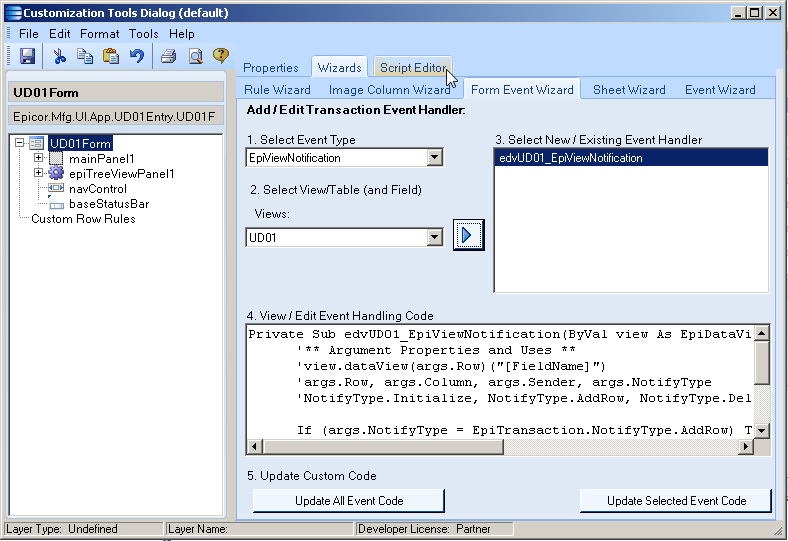 SaberLogic Blog - Epicor Screen Customization Image 7 - Click the script editor to see the new code