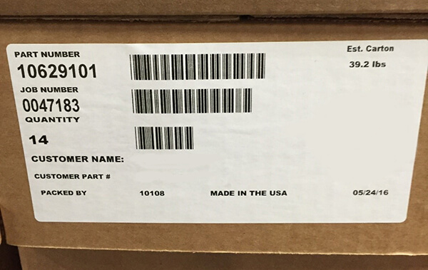 Barcode label on one box ready to be scanned into Epicor