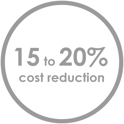 Customers experience 15 to 20% cost reduction in shipping costs